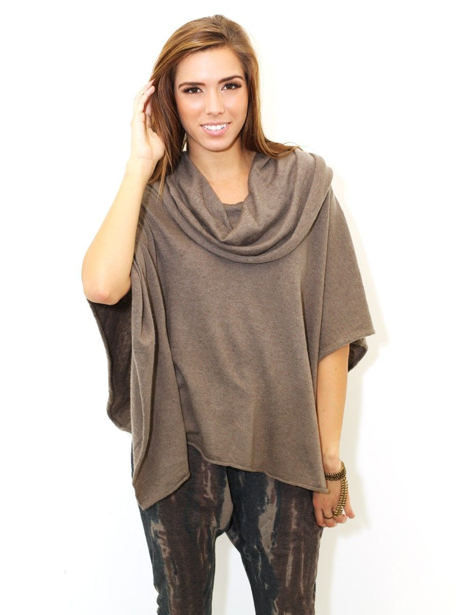 West Coast Wardrobe Poncho Sweater In Fossil Brown | Looks ...