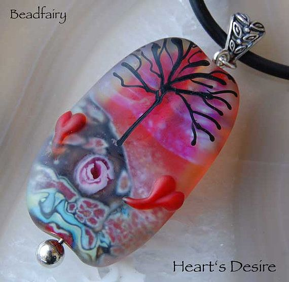 Heart's Desire Large Focal Bead Necklace Pink Handmade Glass Beads by Beadfairy Lampwork SRA