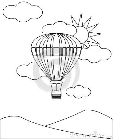 Image representing a hot-air ballon in sky. An idea that can be colored by young children.