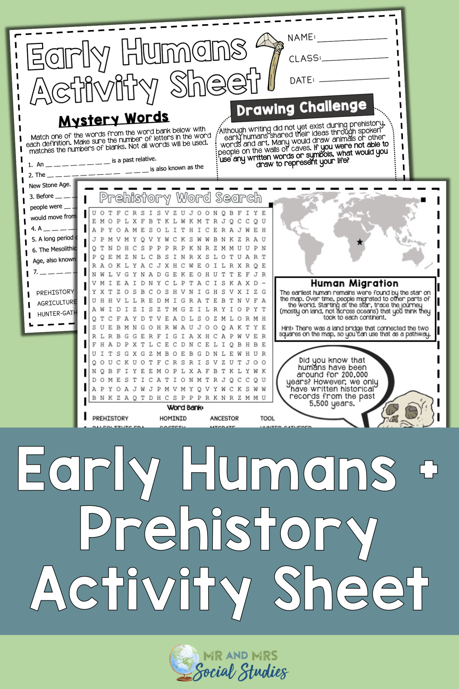No Prep Prehistory And Early Humans Worksheet For Early