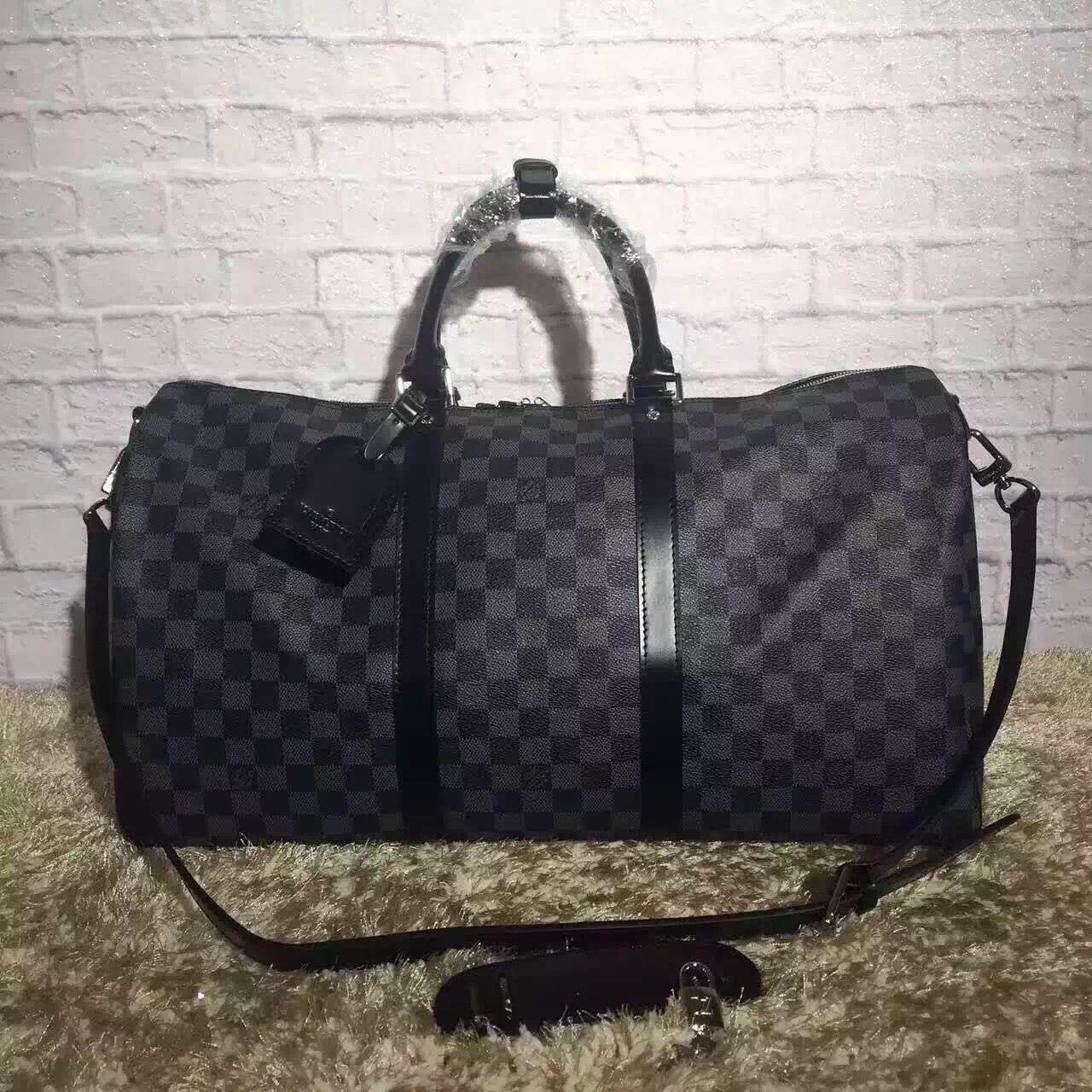 d263c5263b Louis Vuitton Damier Graphite Canvas Keepall 50 Bandouliere Bag ...