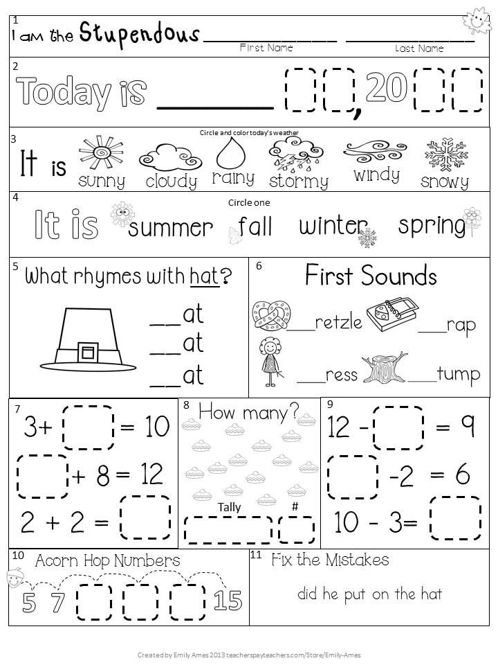 Morning Work: First Grade November Packet (Fall Differentiated ...