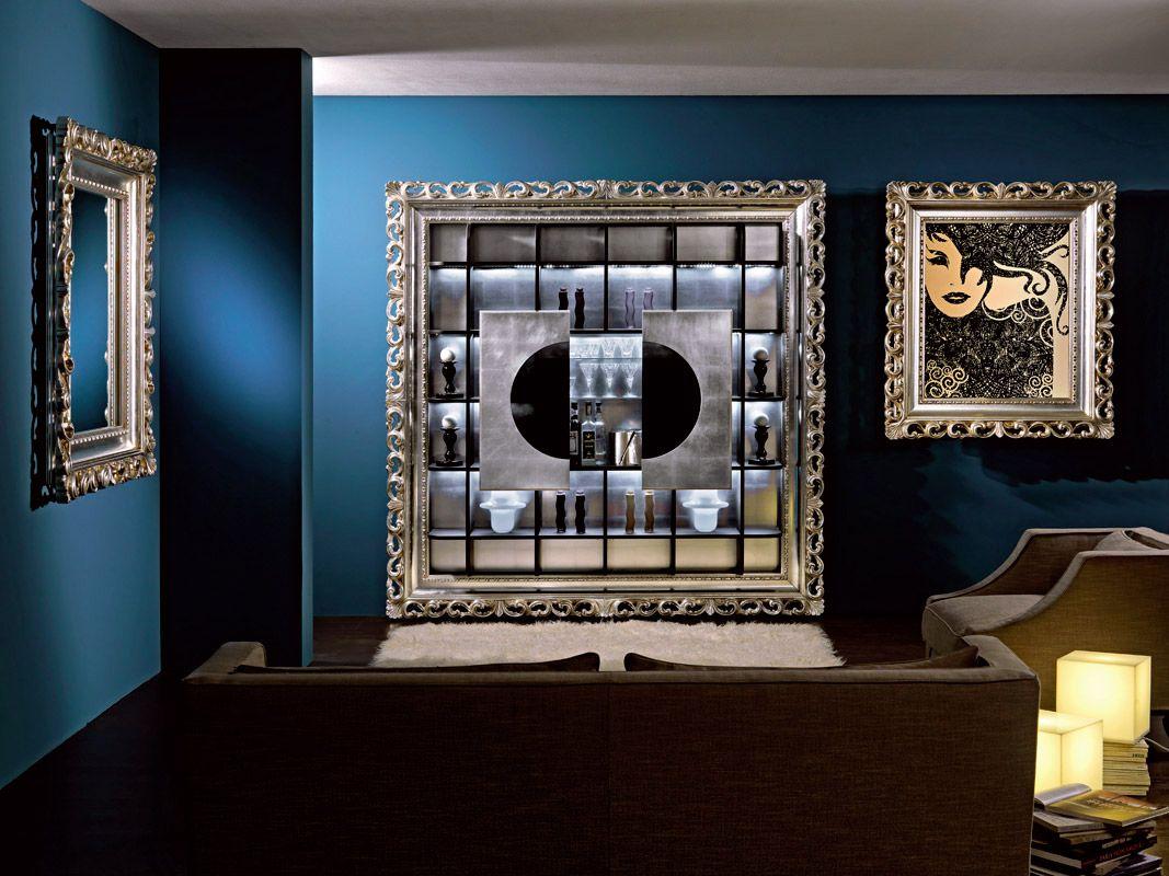 Mobili Argento ~ Mobile bar barocco argento foglia cornici e specchiere barocco