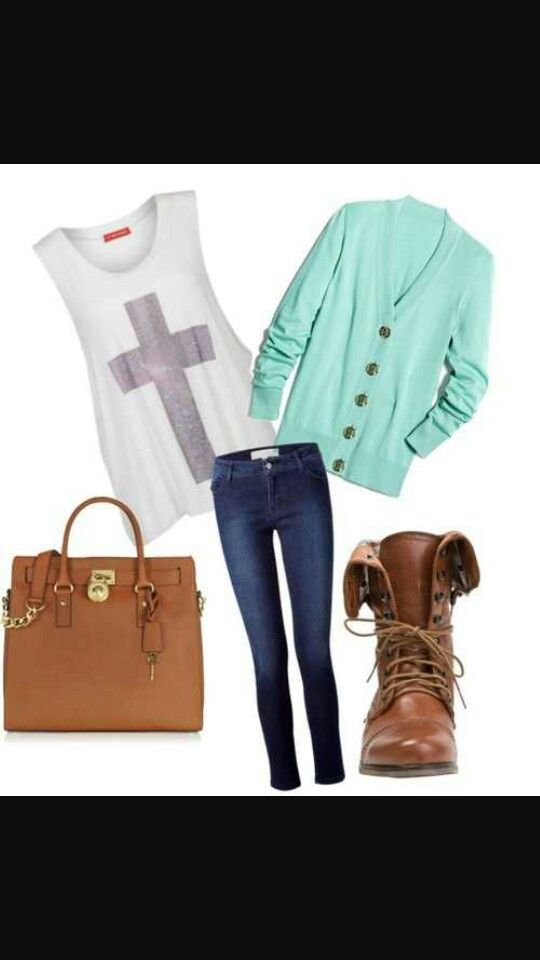 Cross tank with blue button up cardigan, jeans, and brown boots