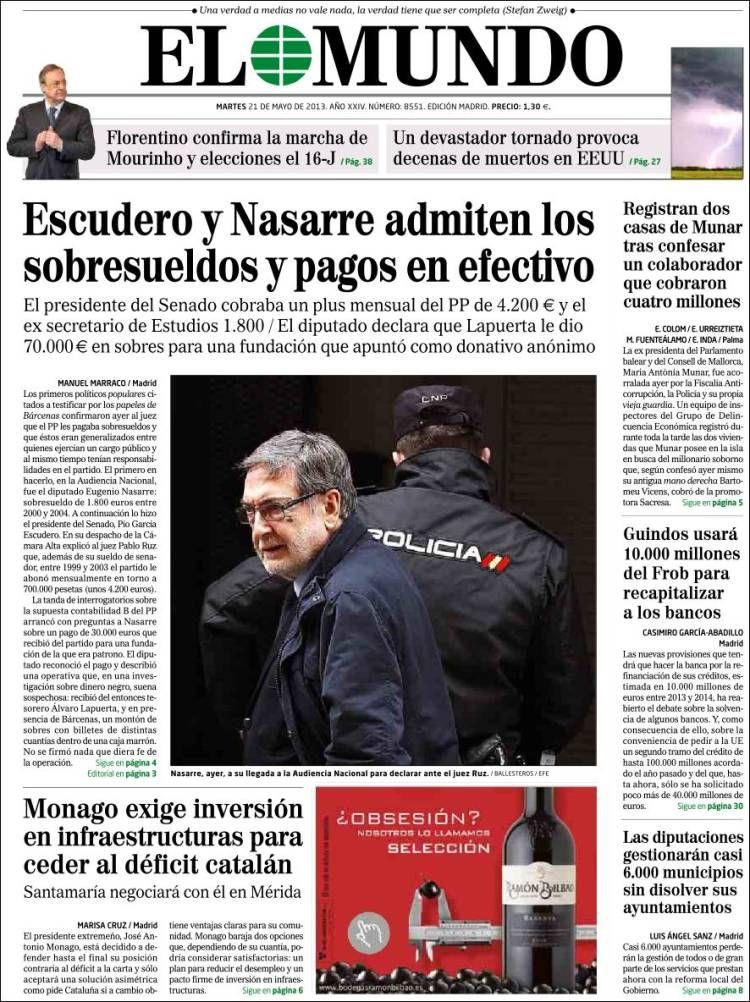 Los Titulares y Portadas de Noticias Destacadas Españolas del 21 de Mayo de 2013 del Diario El Mundo ¿Que le parecio esta Portada de este Diario Español?