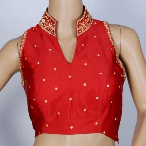 Stand Collar Blouse Designs : Stand collar with delicate machine emb in blood red bengal silk