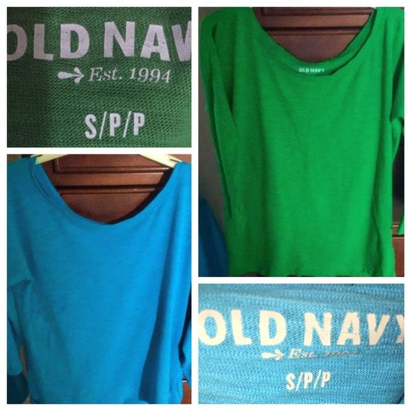Bundle Old Navy tops S Two Old Navy long sleeve T's in near perfect condition. One is Caribbean blue and the other is grass green!! Old Navy Tops Tees - Long Sleeve
