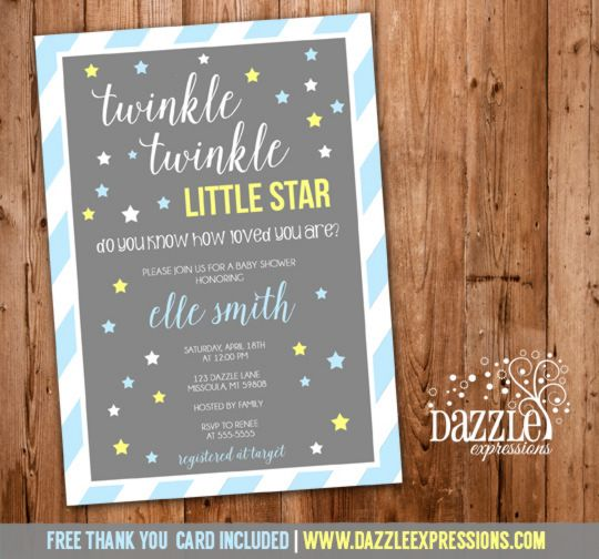 printable blue and yellow twinkle twinkle little star baby shower, Baby shower invitations