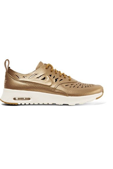 NIKE Air Max Thea Joli Metallic Cutout Textured-Leather Sneakers. #nike # shoes