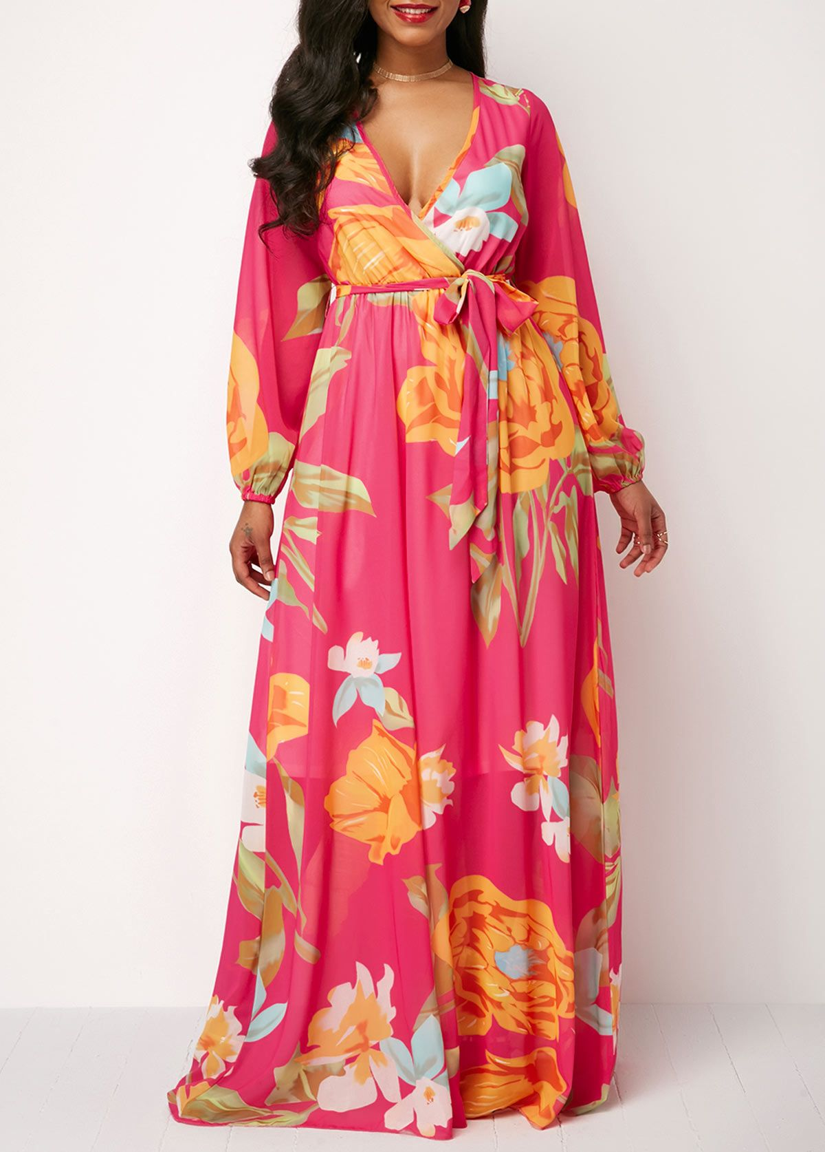 Floral print long sleeve belted maxi dress in fashion