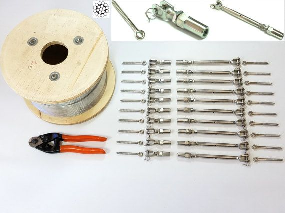 1 8 Cable Railing 316 Stainless Steel Kit 36 1 8 119 Etsy Stainless Steel Cable Railing Cable Railing Deck Cable Railing