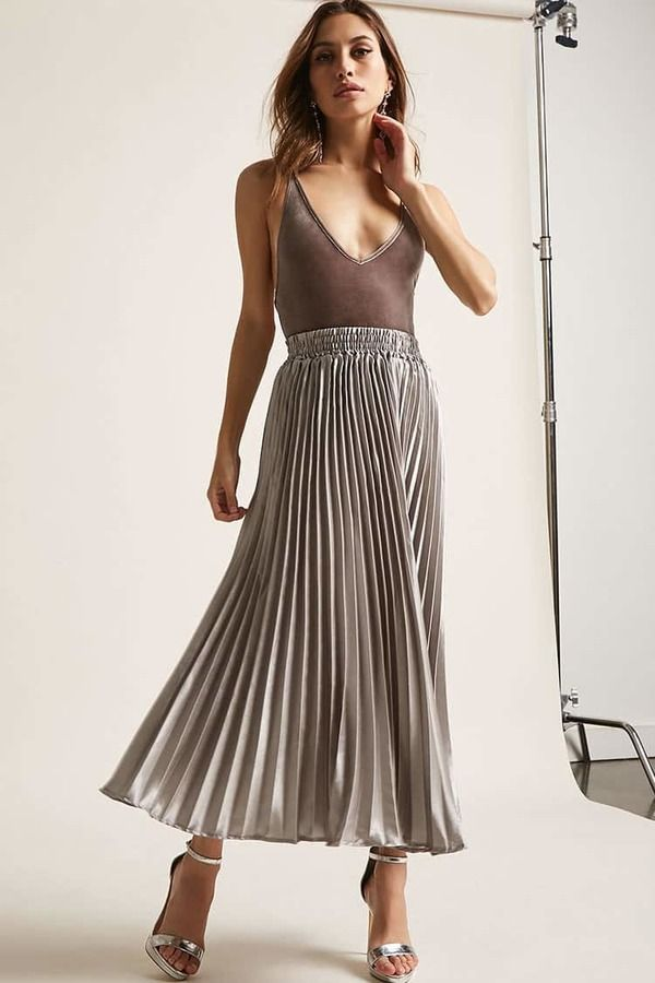 8834049bab Forever 21 Satin Accordion Pleat Maxi Skirt | Products | Pleated ...