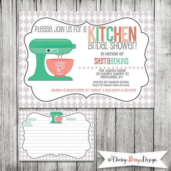 Kitchen Bridal Shower Invitation And Recipe Card Digital File Bridal Shower Bridal Shower Invitations Invitations