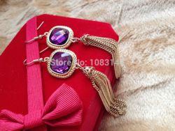 Online Shop De noite Big ouro rosa roxo brilhante pedras de cristal borla longo declaração brincos gota jóias mulheres meninas festa do vintage 2014 Aliexpress Mobile