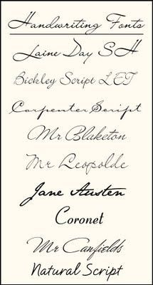 handwriting fonts for loove the austen and