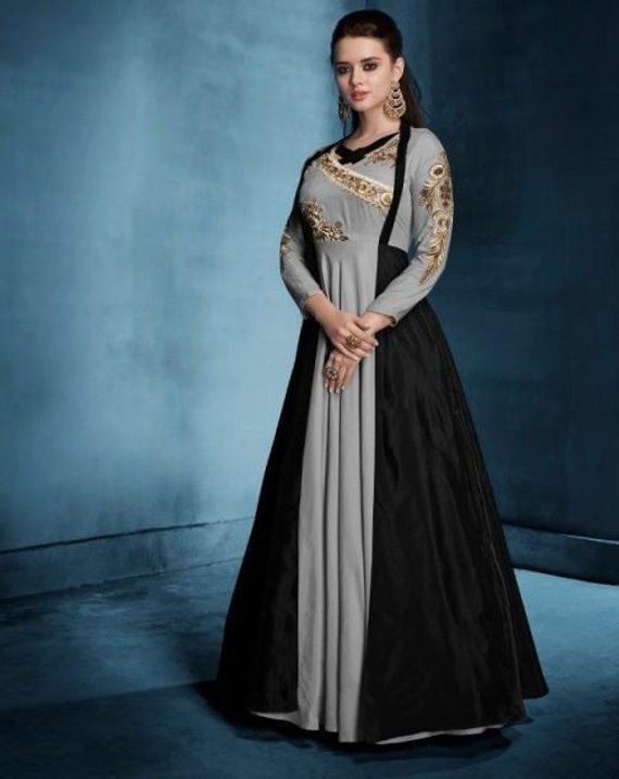 e1a53ae3ea4 Bollywood Style Party Wear Gown - Indian Ethnic Designer Gown - Embroidered  Wedding Wear Floor Lengt