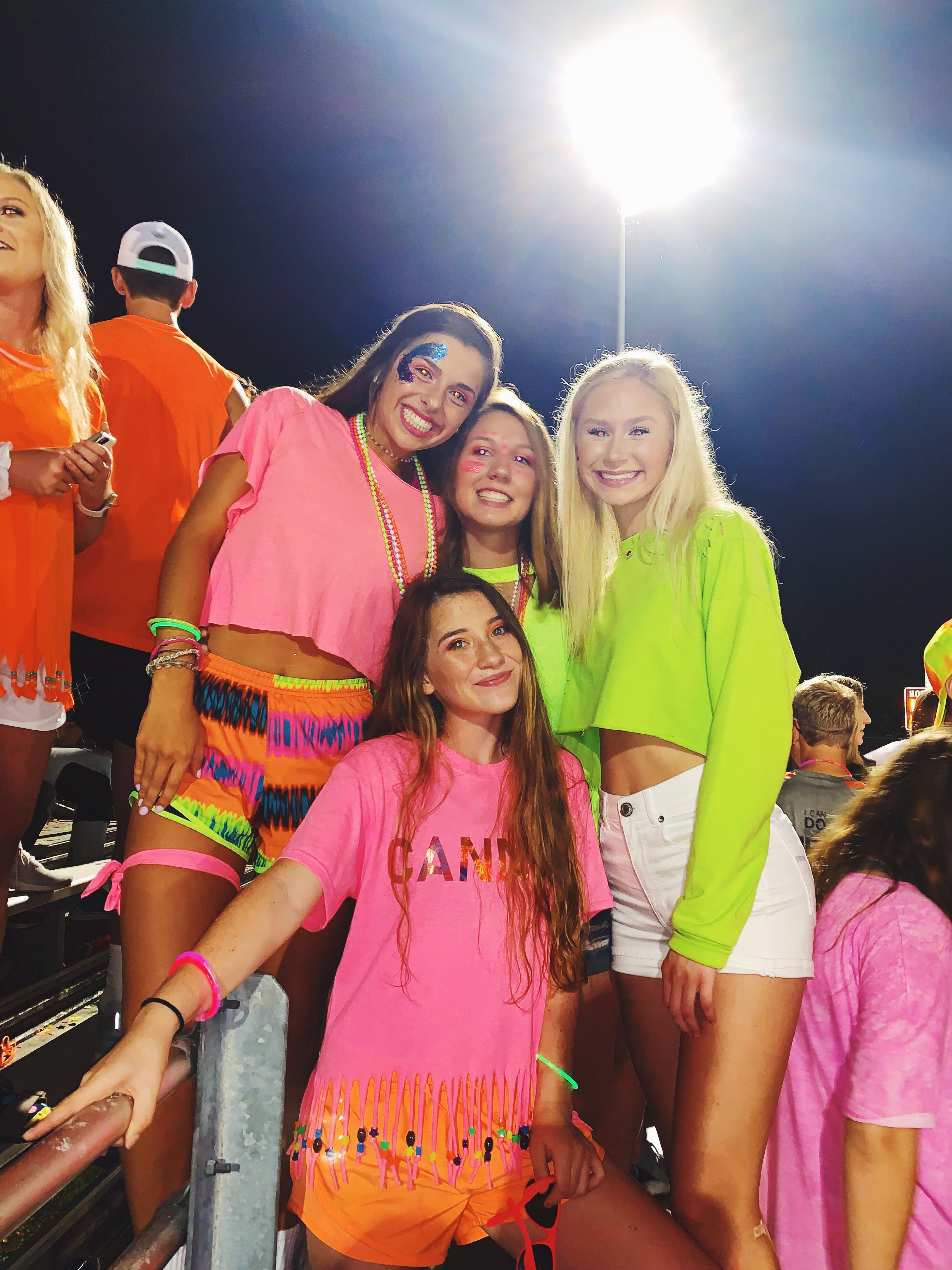 Student section theme, Football season, neon outfit High