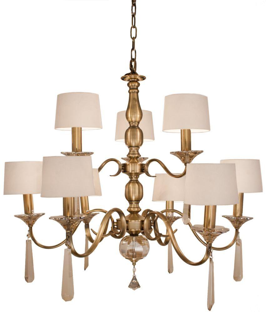 Charon 9 Branch Antique Brass Chandelier | Antique brass chandelier ...