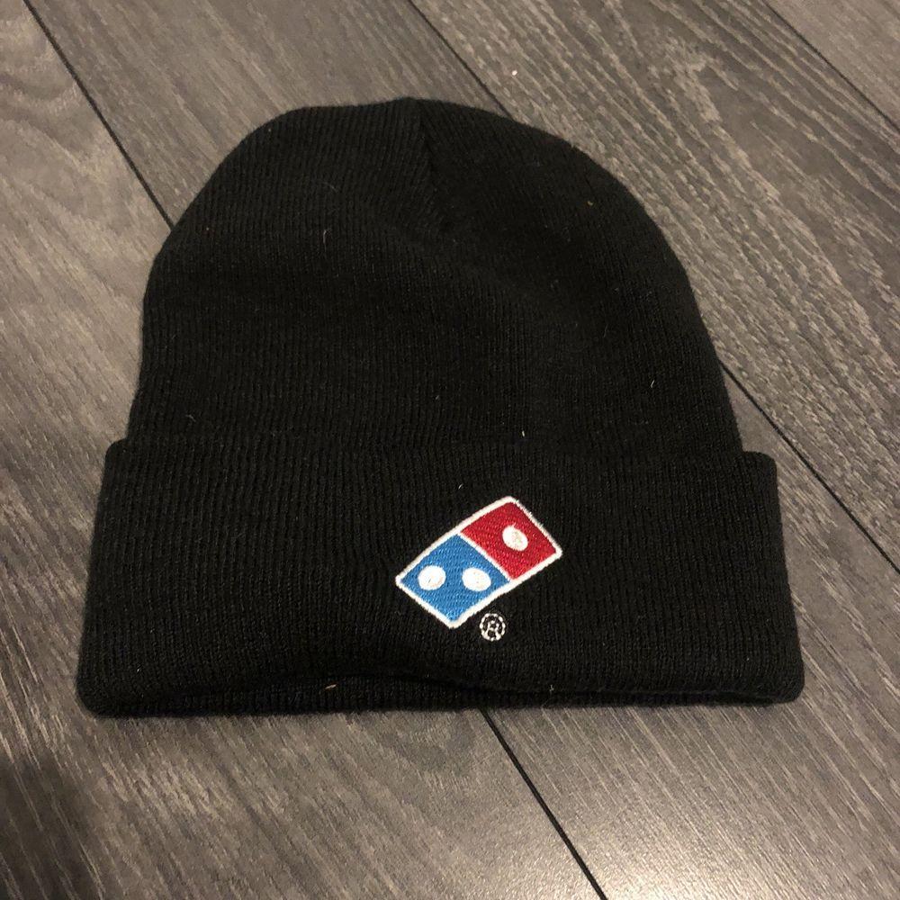 9f47c2f44 DOMINO'S Black Knit Beanie Winter Hat Toque Skull Cap Cuffed 100 ...