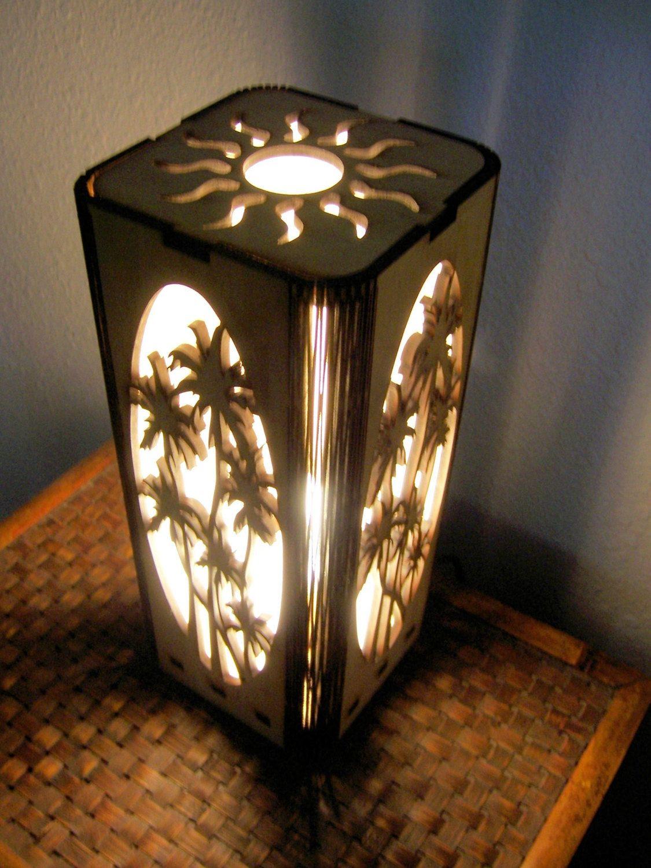 Shoji Style Table Lamp Laser Cut Tropical Design The
