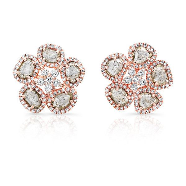 Anne Sisteron 14kt Rose Gold Diamond Slice Mae Flower Earrings 38 737 915 Idr Liked On Polyvore Featuring Jewelry Earrings Rose Rose Gold Jewellery Dia