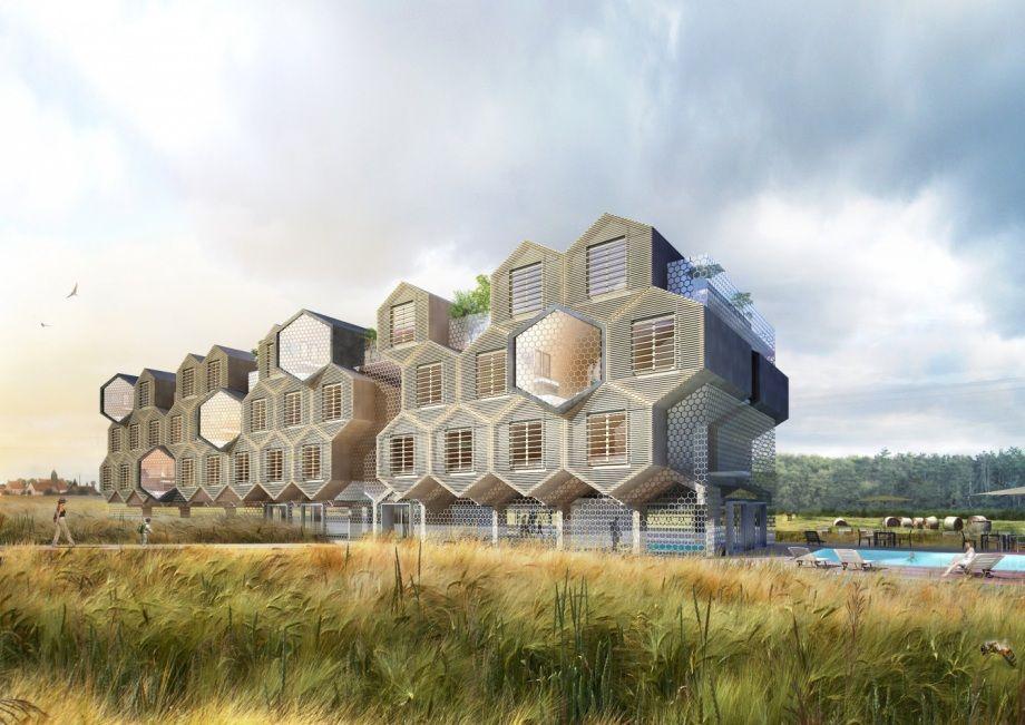 H tel spa bio modulaire de 70 chambres 2013 t design for Bio design hotel