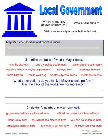Local Government for Kids Worksheets, Social studies and School - new letter format to city mayor