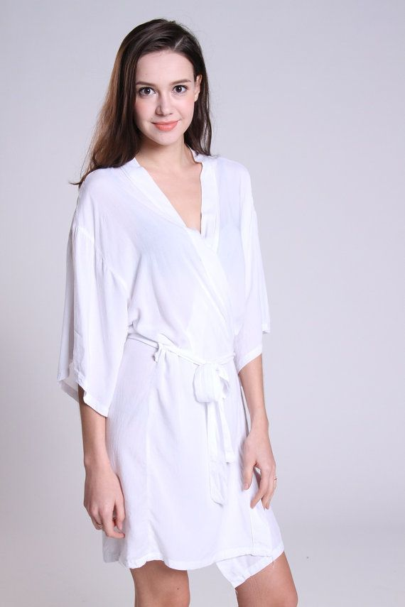 White cotton robe dressing gown honeymoon bridesmaid by ForBride ...