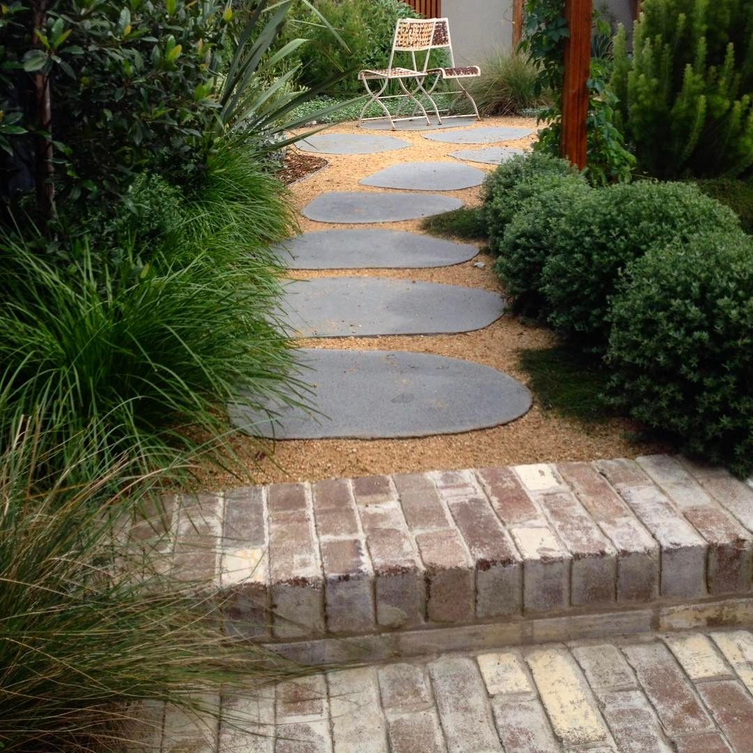 Bluestone Steppers Crushed Granite And Some Recycled Bricks Secretgardenlandscapes Decomposed Granite Patio Brick Paving Bluestone Paving