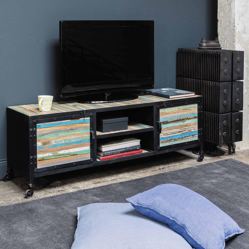 meuble tv roulettes en bahia - Meuble Tv A Roulettes Noir
