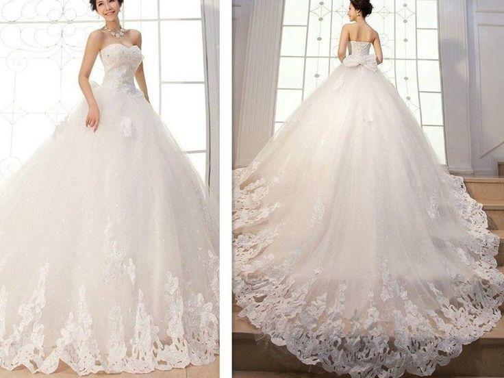 New Liques Ball Gown Elegant Wedding Dresses Bridal Gowns Custom Long Tail
