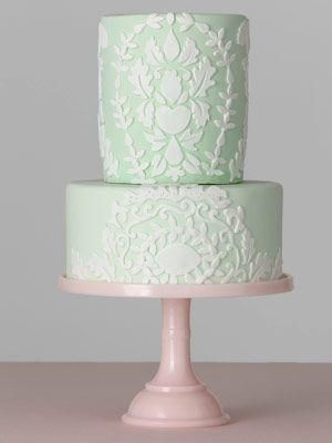 Who can resist a pretty mint green cake?