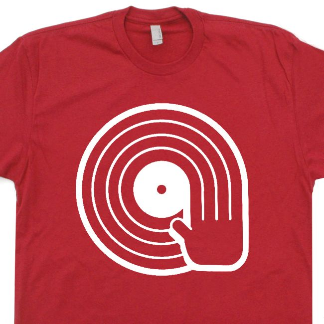 /'Vinyl Records/' Retro LP Turntables DJ T-shirt Tee
