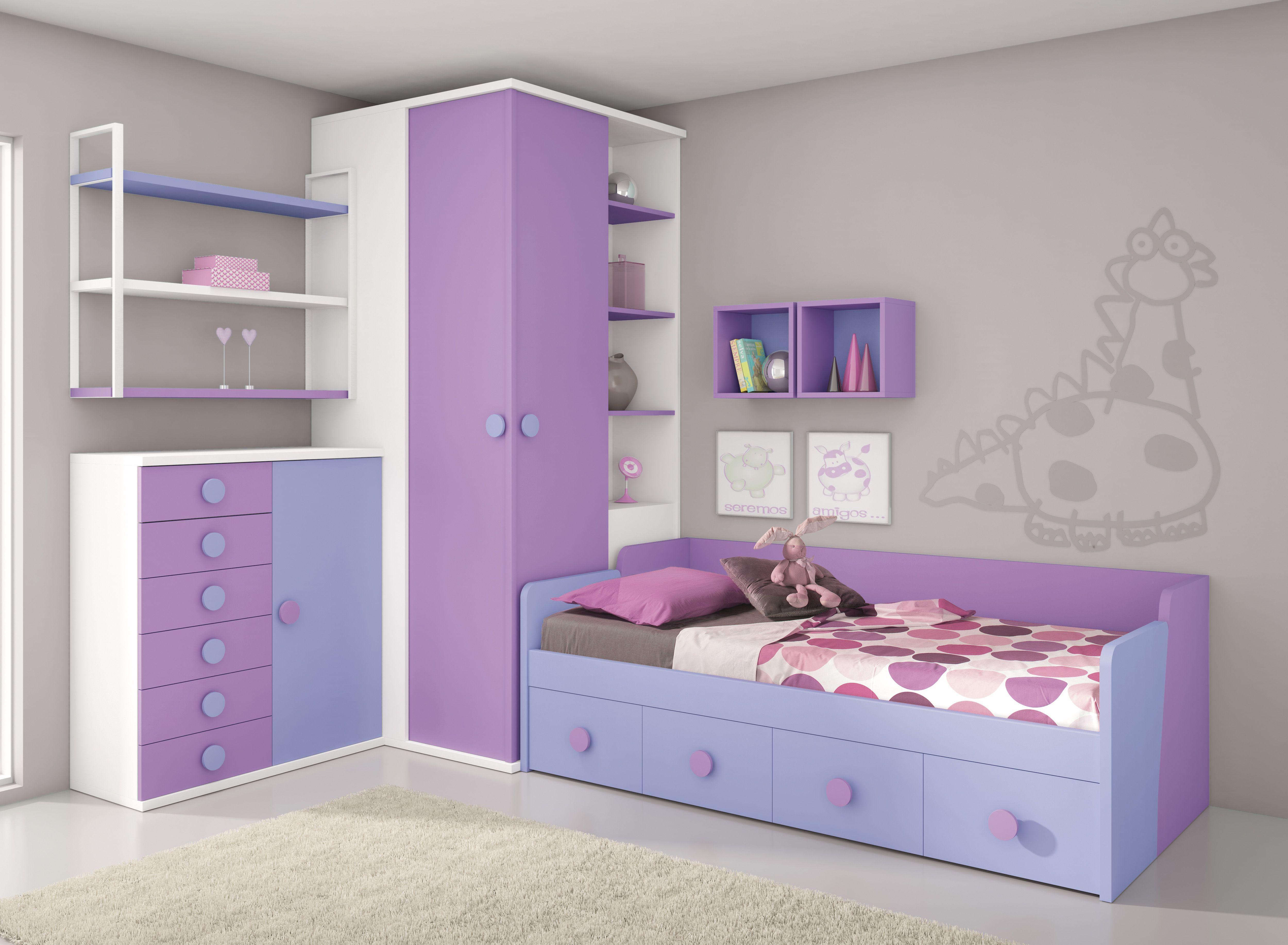 Dormitorio Combinado Blanco Morado Y Lila Diseño De Cama Para Niños Sala De Apartamento Pequeño Decoración De Habitación Tumblr