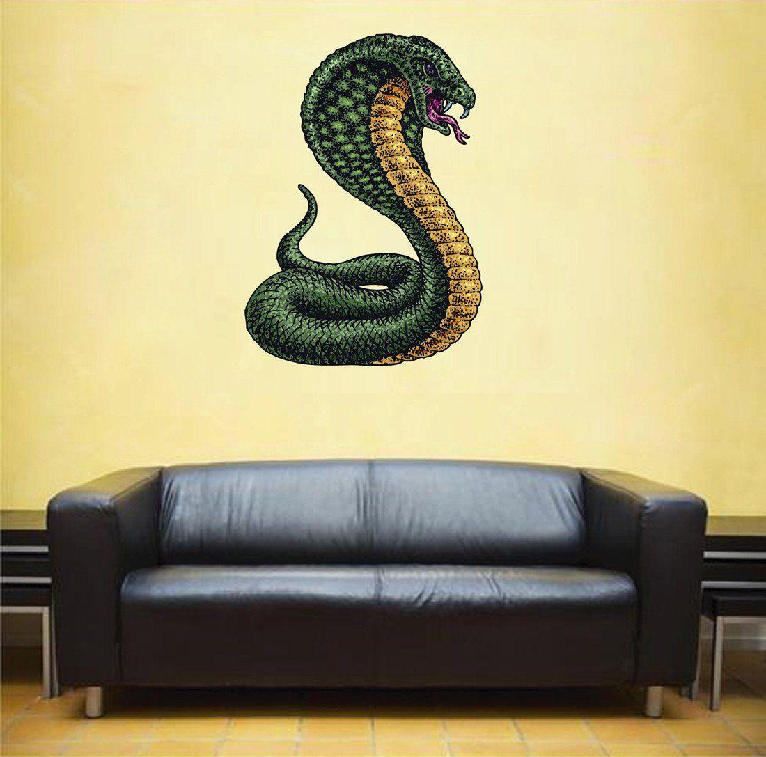 Cik355 Full Color Wall Decal Cobra Snake Animal Living Bedroom Wall Colors Wall Decals Wall Decor Stickers