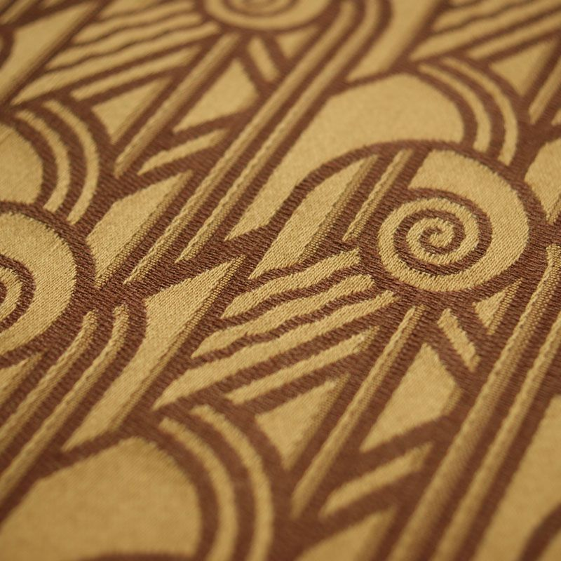 Art Deco Nouveau Gold And Brown Flat Weave Curtain Upholstery Fabric Archive