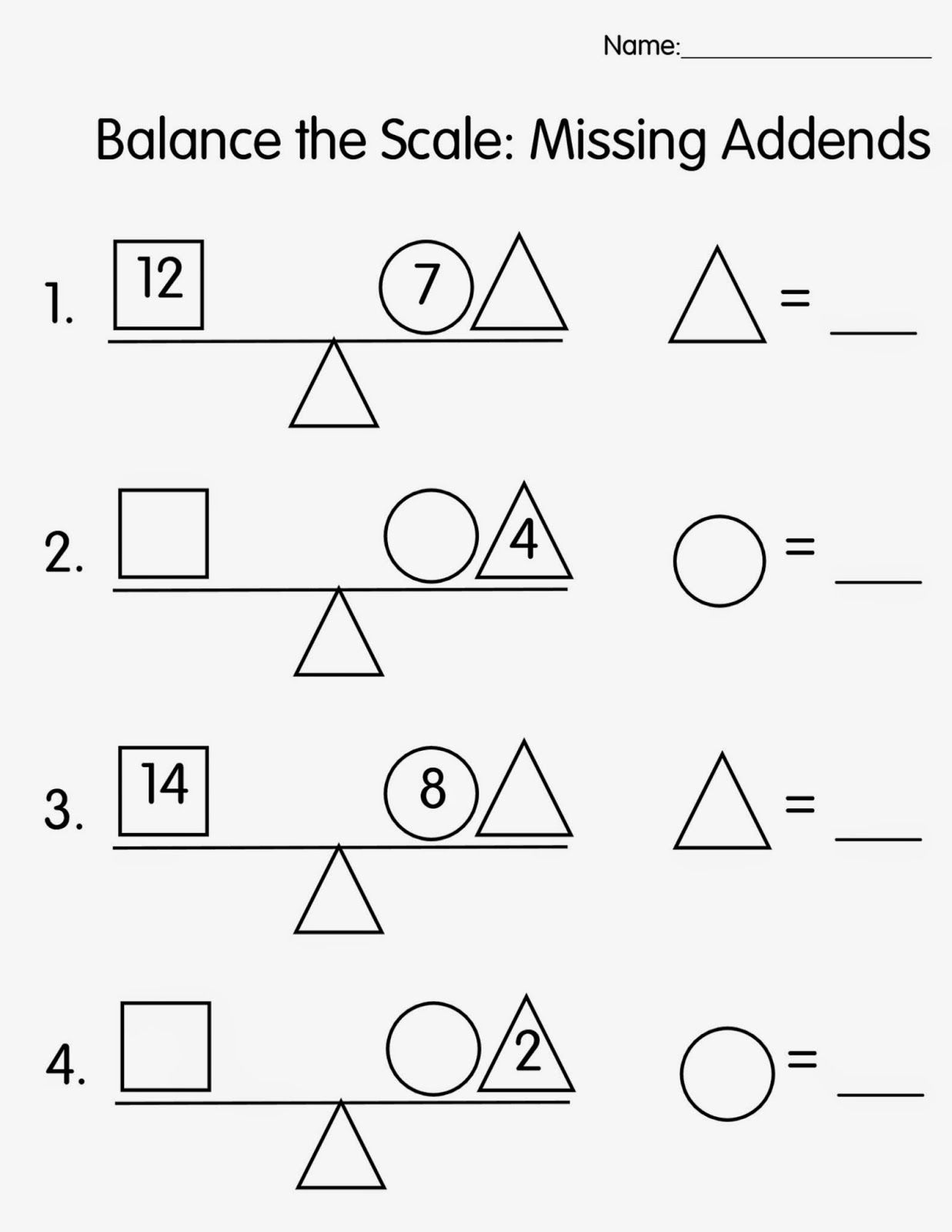 worksheet Addends Worksheets worksheet 1 2 3 4 missing addend story problems out of balance ace