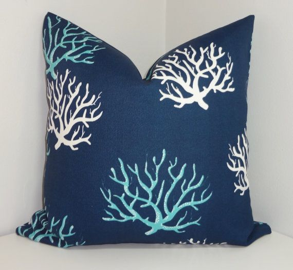 OUTDOOR Blue Navy White Coral & Chevron Print Pillow by HomeLiving