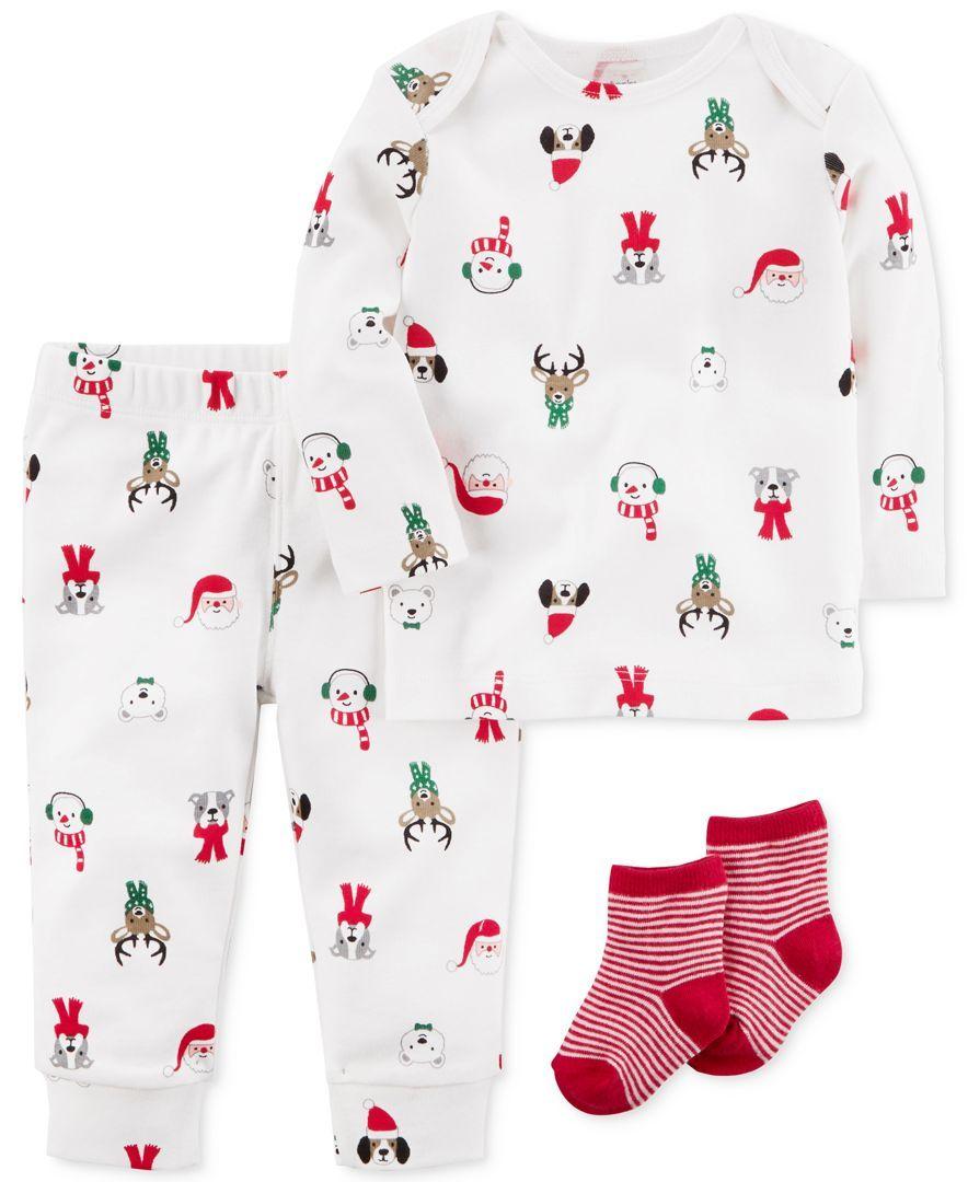 Carter\'s 3-Pc. Holiday-Print Top, Pants & Socks Set, Baby Boys ...