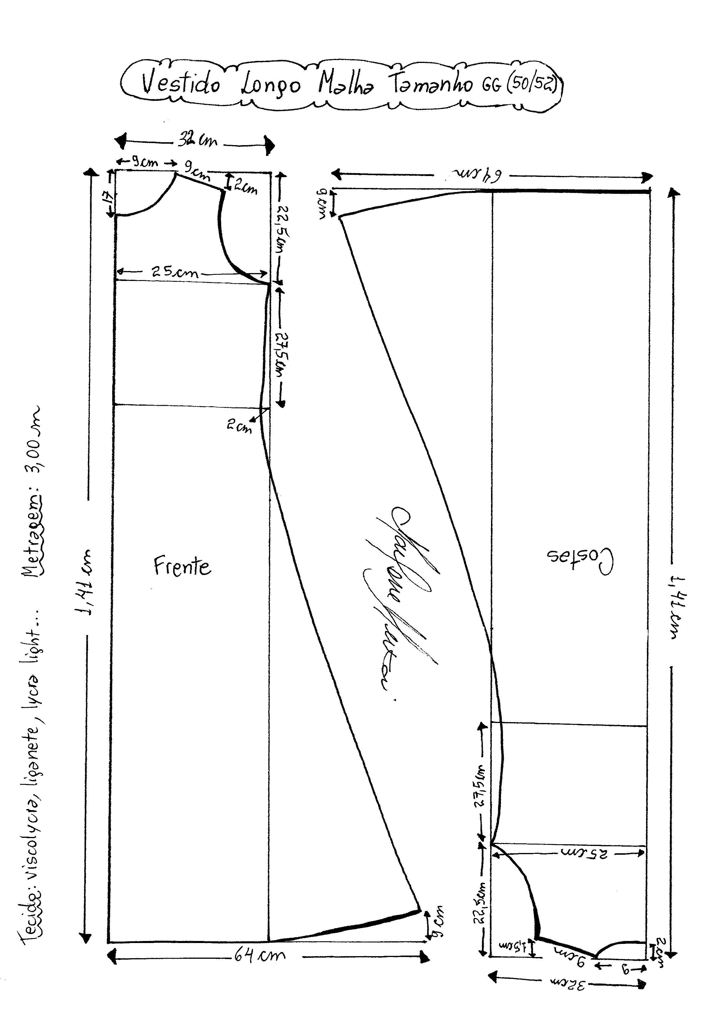 Vestido longo de Malha Regata | moldes.. tabelas e afins | Pinterest ...