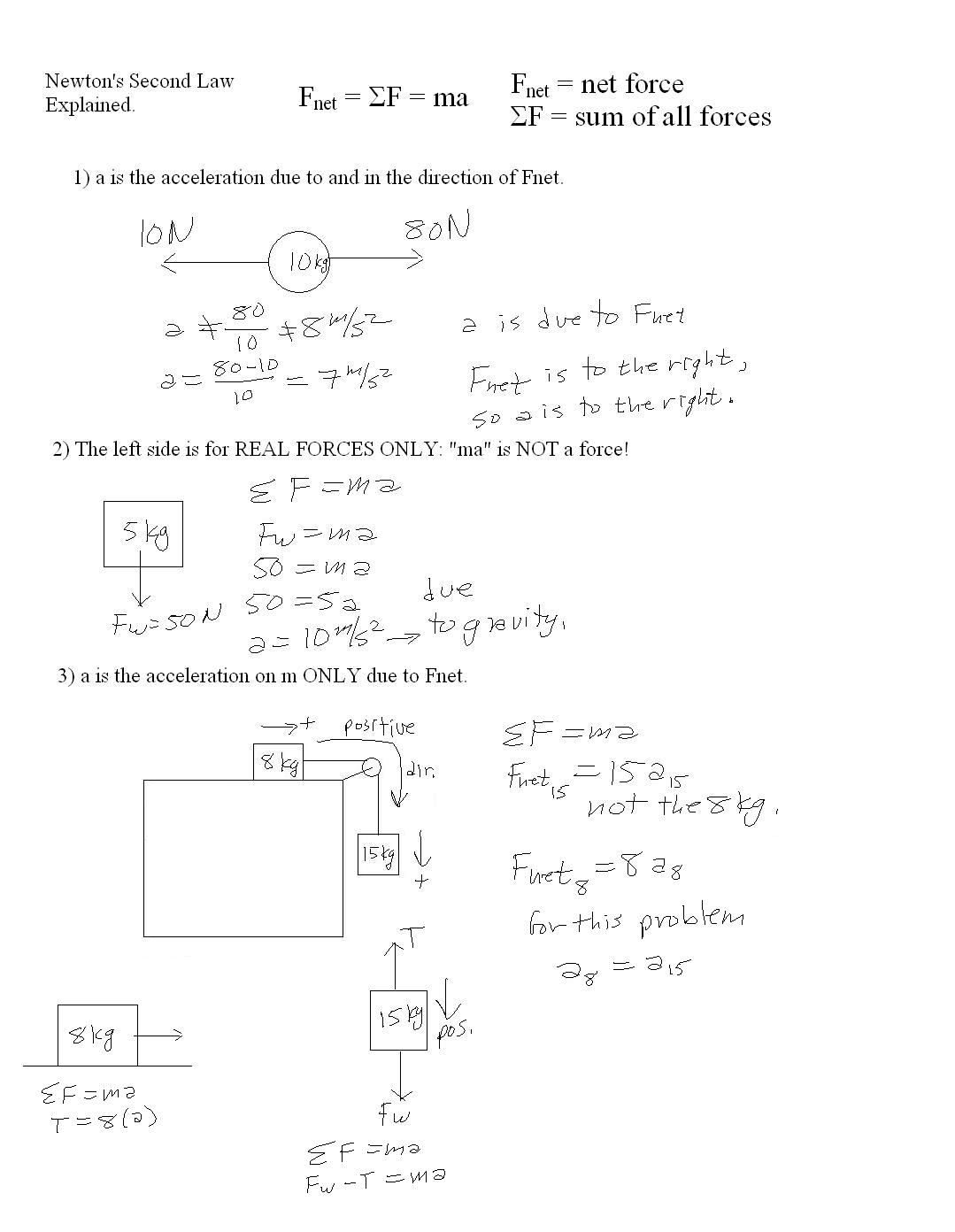 Newton S Second Law Of Motion Worksheets Answers With