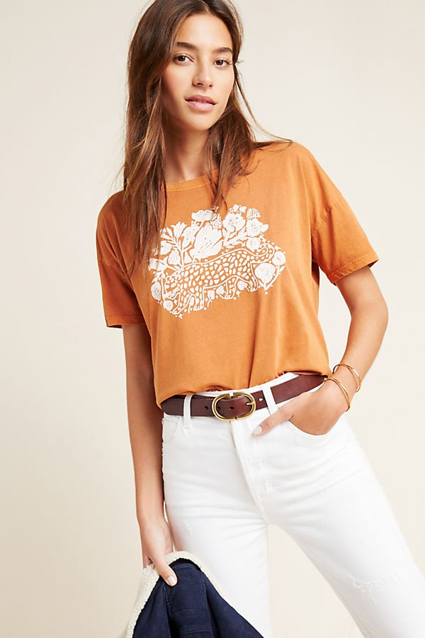 Blossom Graphic Tee by Blooming Print in Orange Size: S, Women's Tees at Anthropologie 1