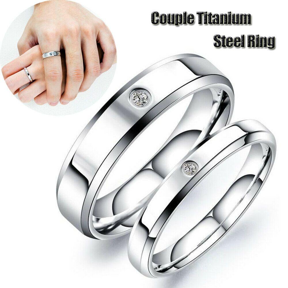 Men Women Couple Stainless Steel Wedding Ring Titanium Engagement Band Gifts Tita In 2020 Couple Wedding Rings Titanium Engagement Rings Stainless Steel Wedding Ring