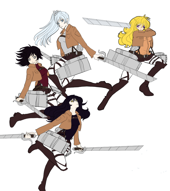 Two of my obsessions right now  Attack on Titan and RWBY  So
