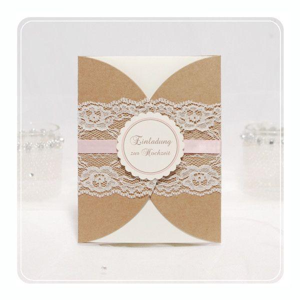Beautiful Einladungskarten Hochzeit Mit Druck #14: Einladungskarten - Einladung Hochzeit Kraftpapier Mit Druck U0026 ... - Ein  Designerstück Von Hochzeitsshop