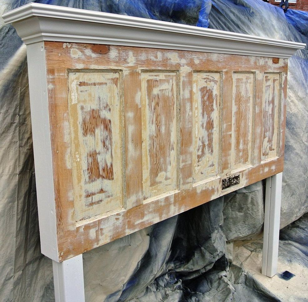 Distressed 85 Year Old Door Made Into King Size Headboard Headboard From Old Door Door Headboards King Size Headboard