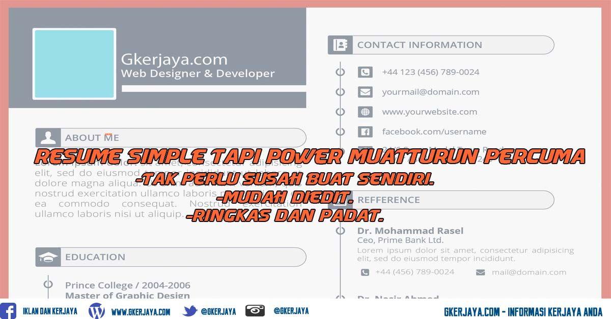 Free Resume Templates Simple Dan Mudah Diedit Riwayat Hidup