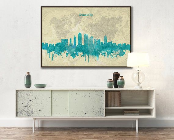 Kansas City skyline, Kansas City, Canvas, Print, Travel, Art, Home ...