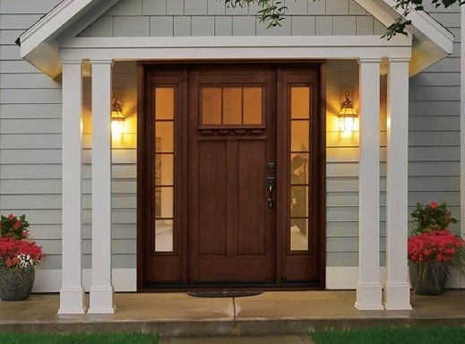Rustic style fiberglass entry doors with sidelights ...