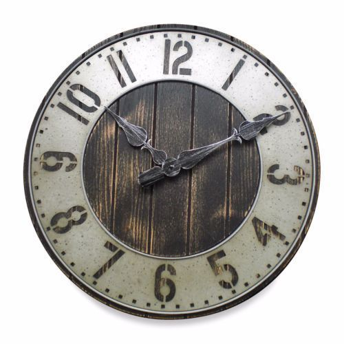 Industrial Vintage Rustic Wall Clock Decor Living Room Round Analog Home Office Ebay Metal Wall Clock